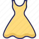 flare dress, frock, party dress icon