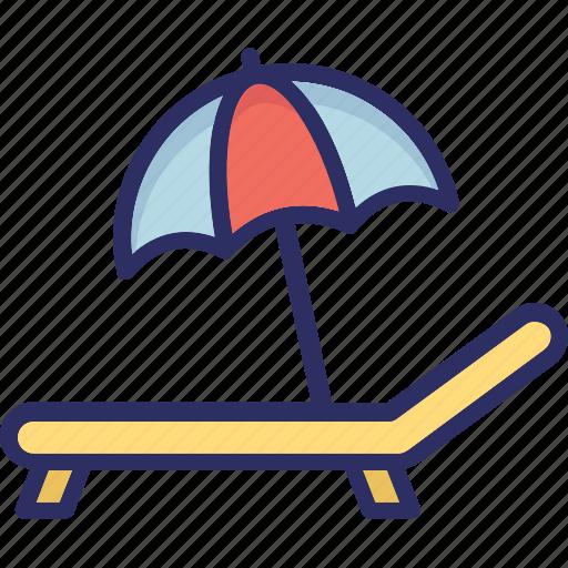 beach, deck chair, sun tanning, sunbathe icon