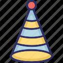 ;, birthday cap, birthday cone hat, cone hat, party cap icon