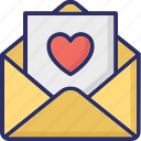 letter, love greeting, love letter, valentine card icon