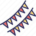 buntings, party decoration, party flags, pennants icon