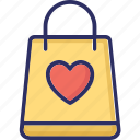 heart bag, shopper bag, shopping bag, tote bag icon