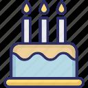 birthday cake, cake, cake with candles, celebration icon
