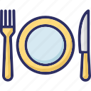 dining, eating, fork, knife, plate icon