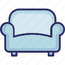 couch, furniture, seat sofa, settee icon
