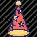 birthday cap, birthday cone hat, cone hat, party cap icon