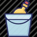 alcohol, champagne bucket, wine bottle, wine bucket icon