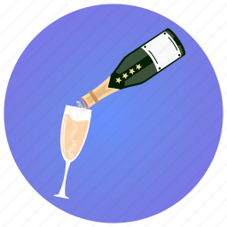 bottle, champagne, glass, party, pouring, toast, wine icon