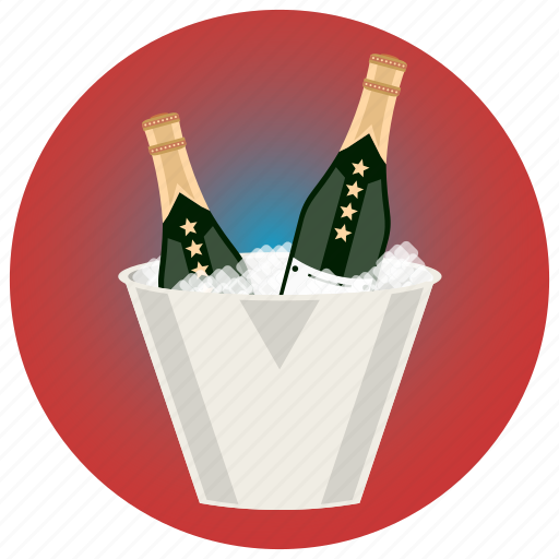 alcohol, champagne, cold, ice, ice bucket, occasion, party icon