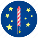 bang, firecracker, fireworks, pop, rocket, sky, star icon