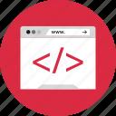 code, online, programming, www icon