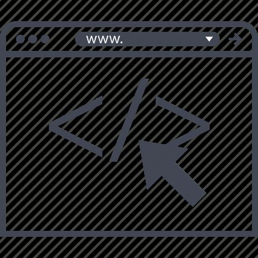 arrow, code, internet, script icon