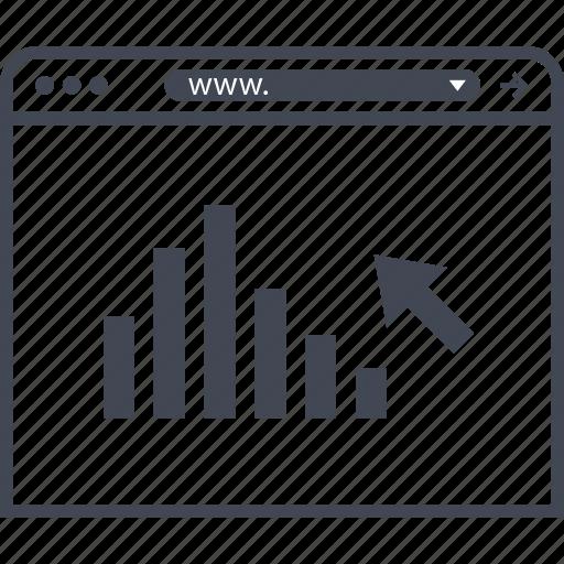 arrow, bars, data, internet icon