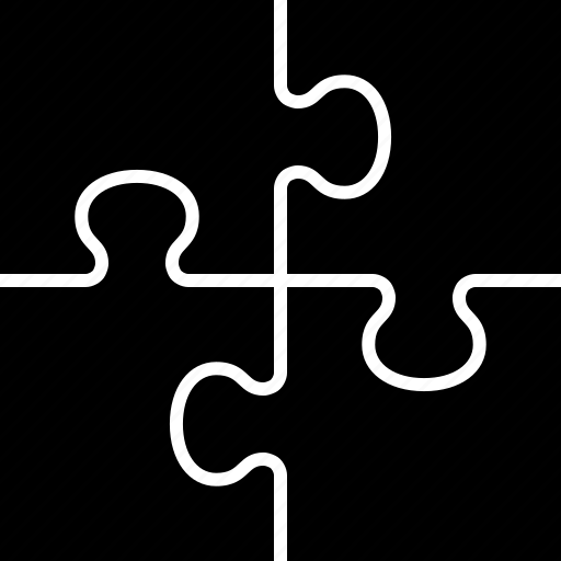 four, jigsaw, pieces, puzzle, square, teamwork, tiling icon