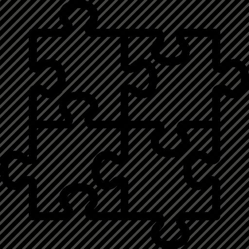 four, jigsaw, piece, pieces, puzzle, team, teamwork icon