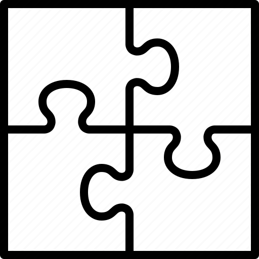 four, jigsaw, pieces, puzzle, square, team, teamwork icon
