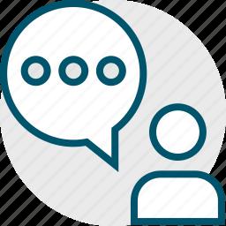 bubble, chat, person, talk, user icon