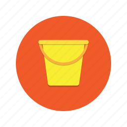 bucket, container, handle, tub, water icon