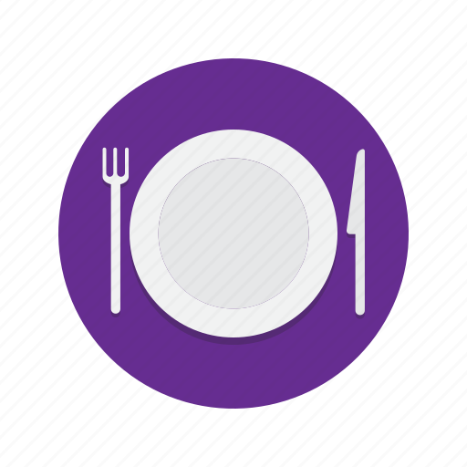 cutlery, dinner, fork, knife, meal, plate, supper icon