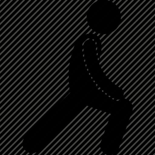 exercise, gym, leg, man, pose, stretching, workout icon