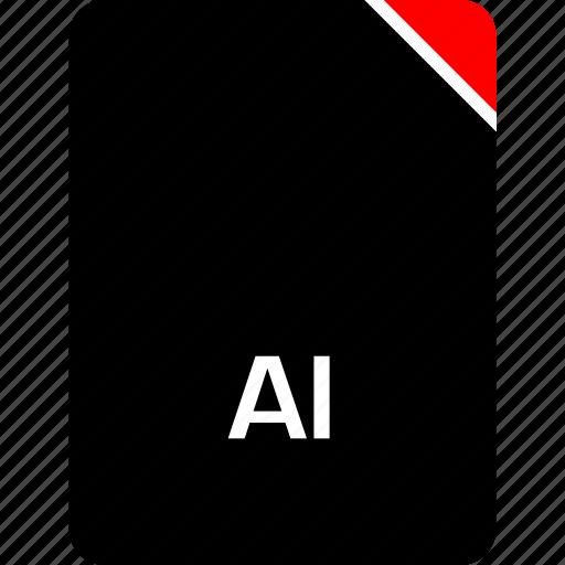ai extension, file, name icon