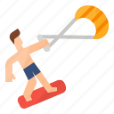 action, extreme, kitesurfing, surfing