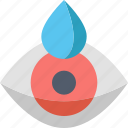care, eye, eyedrop, moisturizing, ophthalmology, red, treatment icon
