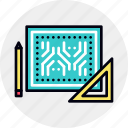 blueprint, circuit, electronics, engineering, hardware, scheme icon