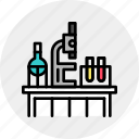 biology, chemistry, class, desk, lab, laboratory, production icon