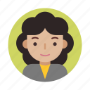 avatar, curly, face, female, head, user, userpic icon