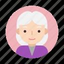 female, grandma, grandmother, old, face, user, userpic icon