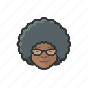 granny, elderly, old, woman, african, curly, avatar