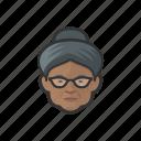 granny, elderly, old, woman, black, hairbun, avatar