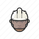 construction, worker, hardhat, african, man
