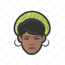 black, woman, hat, hoop, earrings