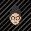 woman, glasses, hair, bun, asian, avatar