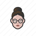 white woman, glasses, hair bun, millennial, avatar