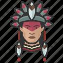 traditional, attire, native, male, avatar, face