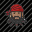 avatar, pirate, beard, man, african