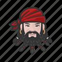 avatar, pirate, beard, man, caucasian