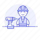 1, builder, contractor, driller, engineer, equipment, factory, male, mechanic, worker icon