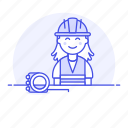 1, builder, contractor, driller, engineer, equipment, factory, female, flexometer, mechanic, worker icon