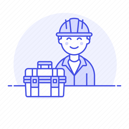 1, builder, contractor, engineer, equipment, factory, male, mechanic, toolbox, worker icon