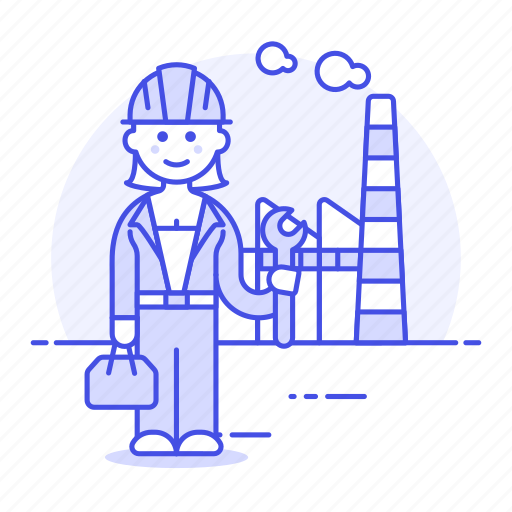 2, builder, engineer, factory, female, industry, plant, production, worker icon