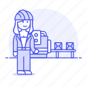 2, belt, box, conveyor, engineer, factory, female, industry, manufacturing, production, worker icon