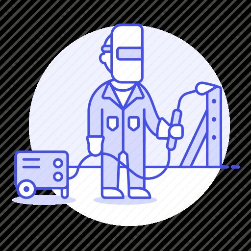 1, building, engineer, factory, machine, male, metal, steel, structure, welder, welding icon