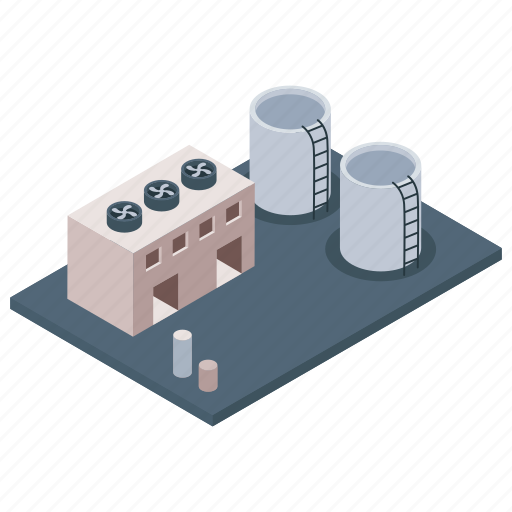 Commercial building, factory, industry, mill, oil refinery industry, power plant icon - Download on Iconfinder