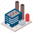 commercial building, factory, mill, oil refinery industry, power plant icon
