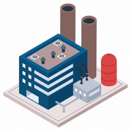 Commercial building, factory, mill, oil refinery industry, power plant icon - Download on Iconfinder