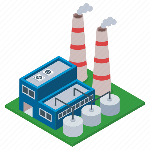 commercial building, factory, industry, manufacturing unit, mill, oil refinery icon